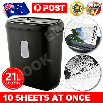 Cross Cut Shredder 10 A4 Paper Sheet Electric Home Office 21L Credit Card Secure