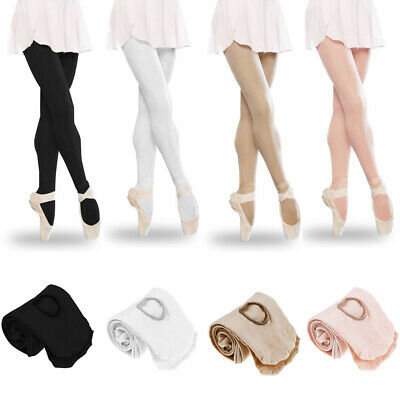 Ladies Girls Silky Convertible Ballet Dance Tights Transition Footed Footless UK