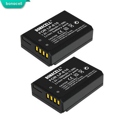 2X LP-E10 LPE10 Replacement Battery For Canon Rebel T3 T5 T6 Kiss X50 EOS 1300D