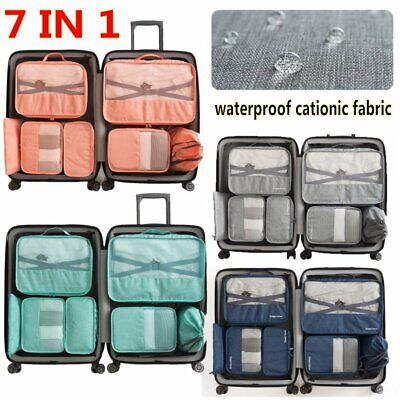 7in1 Packing Cubes Travel Pouches Luggage Organiser Clothes Suitcase Storage Bag