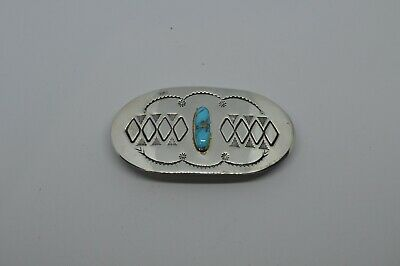 Vintage Sterling Silver and Turquoise Hair Clip Barrette, Signed