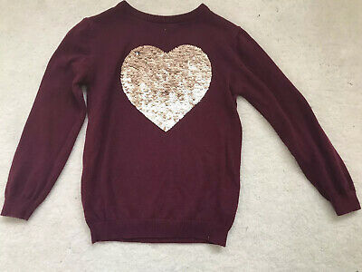Girls Maroon Heart Reversible Sequin Jumper Age 5-6 Years From Primark