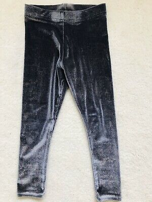 Girls Grey Sparkly Velour Leggings Age 4 Years From Next