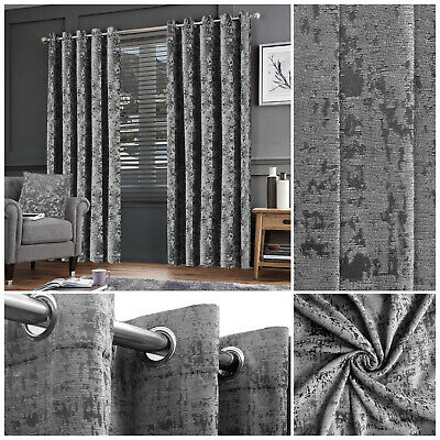 New Grey Crushed Velvet Eyelet Ring Top Thick Blackout Curtains Pair Fully Lined