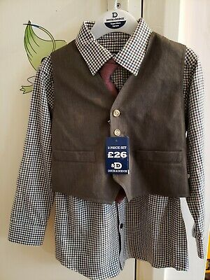 BHS Duck and Dodge Boy 3 Piece Brown Waist Shirt Set New 4 years old