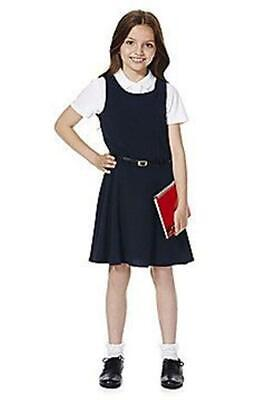 3 x GIRLS EX F&F BLACK BELTED SCHOOL DRESS PINAFORE UNIFORM. Yes 3 Dresses