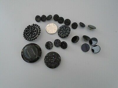 Antique Collection Of Mixed Size  Victorian  Jet Glass  Mourning Buttons