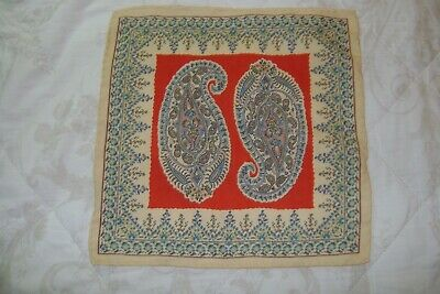 "New Macclesfield silk wool mix pocket square 13"" cream red Paisley hand rolled"