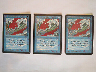 3x Magic The Gathering MTG 1x Alpha + 2x Beta Blue Elemental Blast