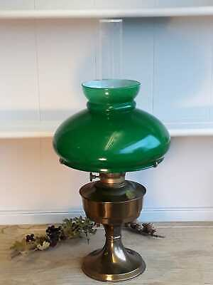 Vintage Aladdin Brass Oil Table Lamp Glass Chimney with Green Shade