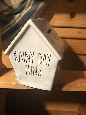 Rae Dunn Christmas By Magenta Ceramic RAINY DAY FUND Piggy Bank Birdhouse VHTF
