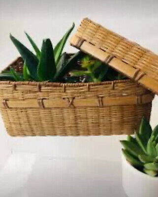 Vintage Boho Woven Bamboo Storage Pot Woven basket Container With Lid