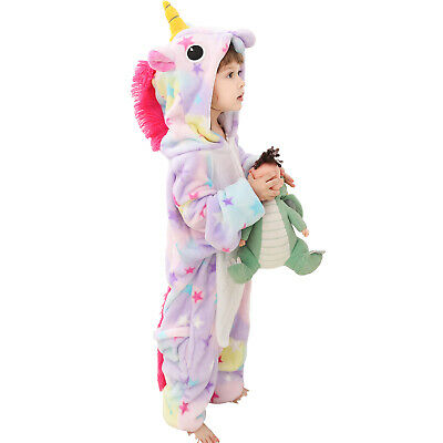 Girls Boys Hooded  All In One Pyjamas Romper Costume Unicorn Reindeer Crocodile