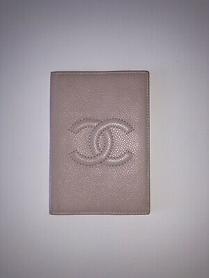 Authentic Chanel Beige Nude Caviar Leather Passport Holder Classic Vintage
