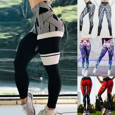 Women High Waist Yoga Fitness Leggings Printed Running Gym Sports Pants Trousers