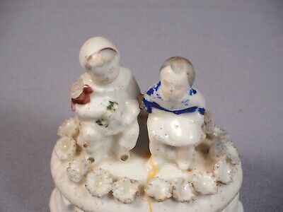 Staffordshire Victorian Fairing Trinket Box Children Babies Boy Girls Antique