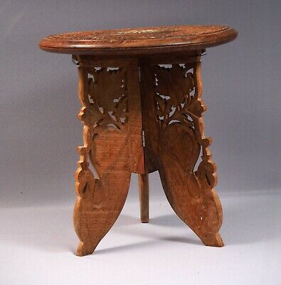 Folding Carved Anglo-Indian Wine Coffee TABLE  Mother of pearl  Horn Inlays
