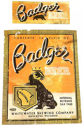 IRTP Vintage Badger Beer Label Whitewater Brewing Wisconsin Neckband Great Image