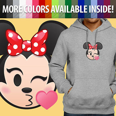 Minnie Mouse Kissy Face Wink Kiss Emoji Heart Unisex Pullover Hoodie Sweater Top