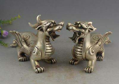 Tibet Silver Wealth PiXiu Phylactery Guardian Beast Brave Troops Pair Statue RT