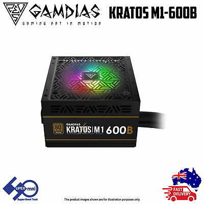 600W PC Power Supply Gamdias Kratos M1 Bronze 80 Plus with Addressable RGB Fan