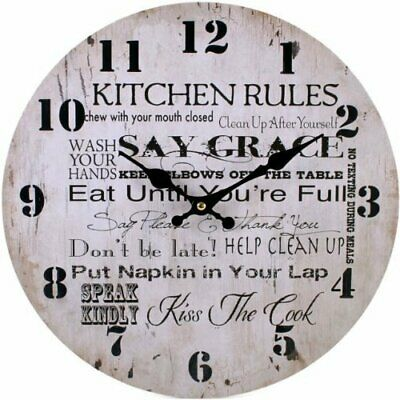 """Large Retro Wooden Wall Clock Kitchen Rules✔️ Shabby Chic ✔️34Cm 13""""✔️"""