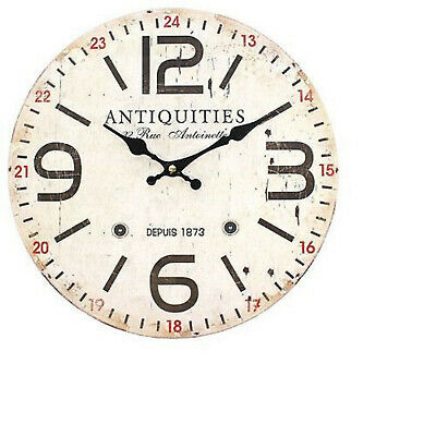 Large Big Numbers Wooden Wall Clock ✔️ Retro French Antique ✔️ Rustic Style ✔️