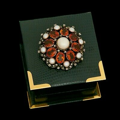 Antique Vintage Art Nouveau 18k Gold South Sea Pearl Citrine Diamond Pin Brooch
