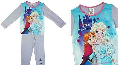 Childrens Girls Frozen 2 Long Pyjama Set Anna Elsa Sleepwear Pjs