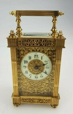 Antique French Carriage Clock Gilt Filigree On 3 Sides Working Order
