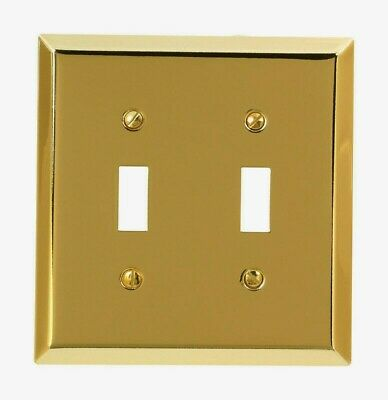 Amerelle Century Polished Brass TOGGLE WALL PLATE 2 Gang Stamped Steel 163TTBR