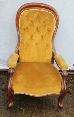 1905 Victorian mahogany armchair - with Gold Upholstery