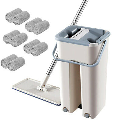 Squeeze Mop And Bucket Hand Free Flat Floor Self Cleaning Microfiber Mop Pad