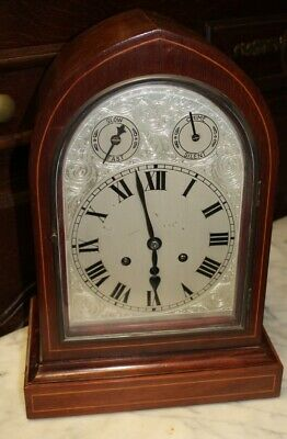 1900's Mahogany Bracket Clock with Silvered Dial