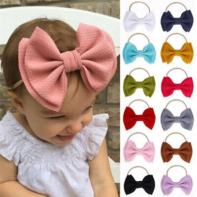 Baby Girls Toddler Bow Knot Hairband Headband Stretch Turban Head Wrap