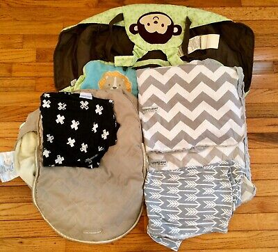 6 Pc Baby Carseat Canopy Cover JJ COLF Fleece Lined CARTERS Shopping Cart Lot