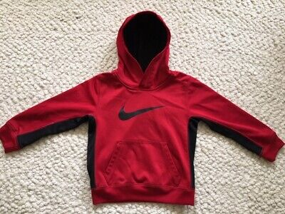 BOYS NIKE THERMA Fit Hoodie Sweatshirt Black Red Small S