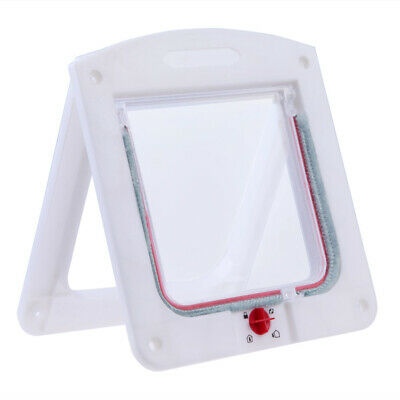 Lockable Cat Flap Door Kitten Dog Pet Lock Suitable for Any Wall White #Cu3
