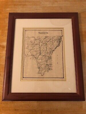 Vintage Historical Map 1873 Framed Map Of Warren County New York Adirondack Mts
