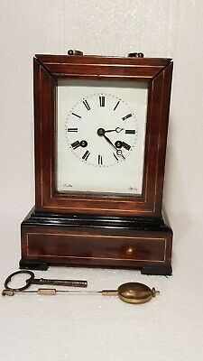 Antique Jules A Paris Rosewood Carriage Bracket Clock