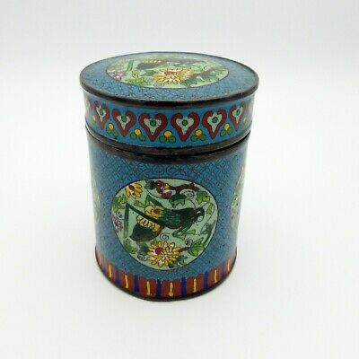 Vintage Chinese signed cloisonne box with cricket design motif