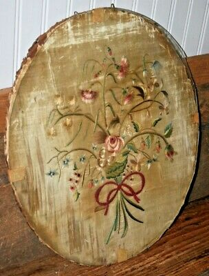 Antique embroidered Silk Bouquet of Flowers English French Panel Textile Art