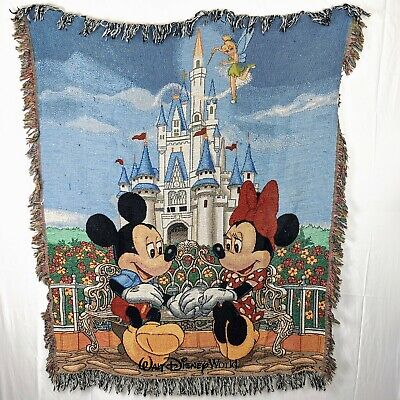 """Walt Disney World Mickey and Minnie Mouse Blanket Tapestry Throw 55"""" x 45"""""""