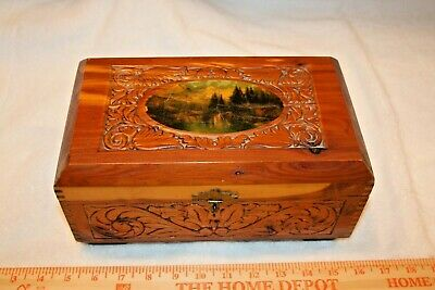 Vintage Cedar Wood Box with Wilderness Scene on top Tongue & Grove