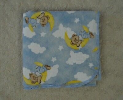 The Boyd's Bear Collection Teddy Receiving Blanket Dolly Blue Cloud Moon Star