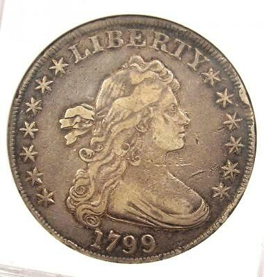 1799 Draped Bust Silver Dollar $1 - ANACS XF40 Details (EF40) - Rare Coin!