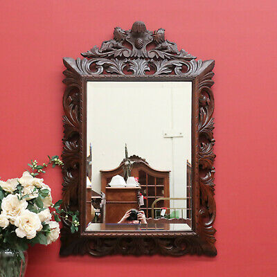 Antique French Oak Carved Cushion Mirror, Bevelled Edge Carved Hall Mirror