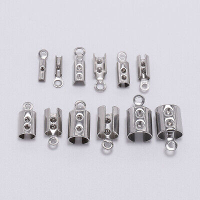 DIY  50pcs Stainless Steel Cords Crimp End Beads Caps Bracelet Jewelry Connecto