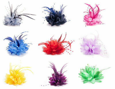 Flower Feather Comb Fascinator Wedding Races Proms Bridal Hair Accessory