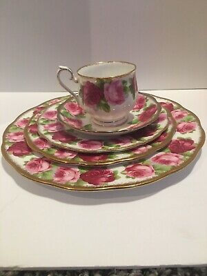 Royal Albert Old English Rose 5 piece place setting tea cup dessert dinner plate